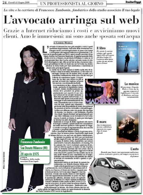 "Italia Oggi: ""L'Avvocato arringa sul web"""