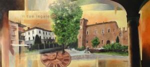 Un quadro rappresenta la sede dello studio a sinistra del Castello, vista dai portici di Binasco